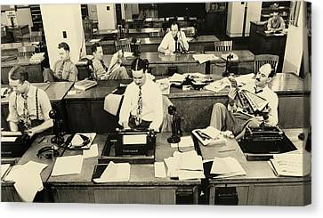 Interior Scene Canvas Print - New York Times Reporters 1942 by Janeb13