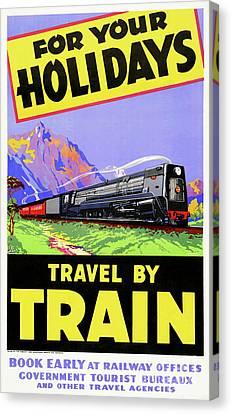 New Zealand Vintage Travel Poster Restored Canvas Print