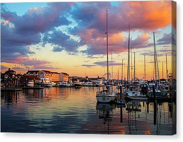Boats In Water Canvas Print - Newports Dusk by Karol Livote