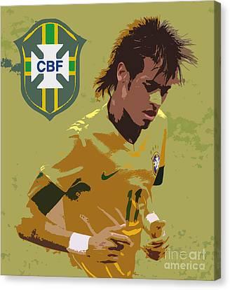 Neymar Art Deco Canvas Print by Lee Dos Santos