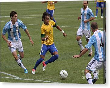 Clash Of Worlds Canvas Print - Neymar Doing His Thing II by Lee Dos Santos