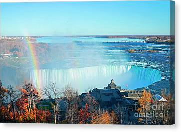 Canvas Print featuring the photograph Niagara Falls Rainbow by Charline Xia