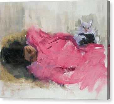 Nicole And Josie Canvas Print by Merle Keller