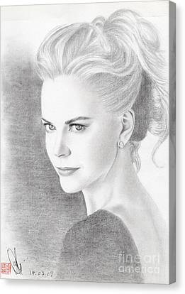 Canvas Print featuring the drawing Nicole Kidman by Eliza Lo