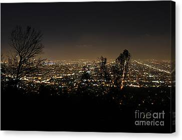 Bruster Canvas Print - Night At Griffeth Observatory by Clayton Bruster