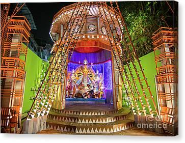 Night Image Of Durga Puja Pandal Kolkata West Bengal India Canvas Print by Rudra Narayan Mitra