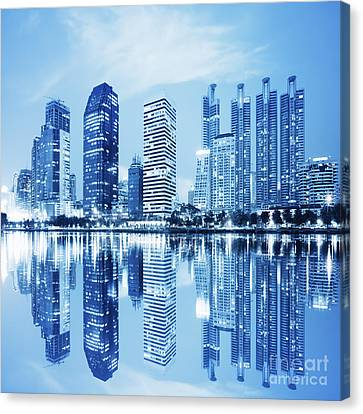 Street Lights Canvas Print - Night Scenes Of City by Setsiri Silapasuwanchai