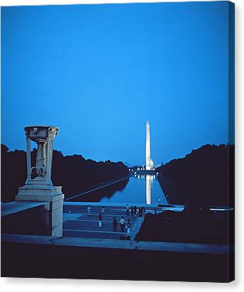 Night View Of The Washington Monument Across The National Mall Canvas Print by American School