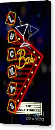Nightclub Sign Luckys Bar Canvas Print