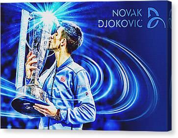 No1e  -  Novak Djokovic Canvas Print by Nenad Cerovic