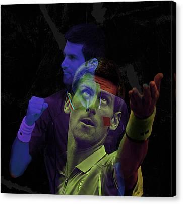 Novak Djokovic Double Color Exposition Canvas Print by Srdjan Petrovic