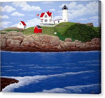 Nubble Lighthouse Canvas Print by Frederic Kohli