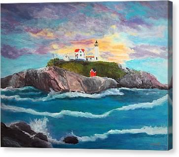 Nubble Lighthouse Canvas Print by Anne Sands