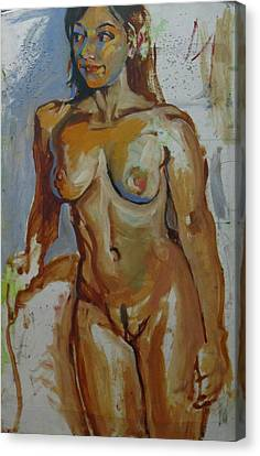 Nude Portrait Of A Canvas Print by Piotr Antonow