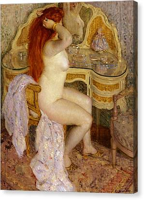 Nude Seated At Her Dressing Table Canvas Print by Frederick Carl Frieseke