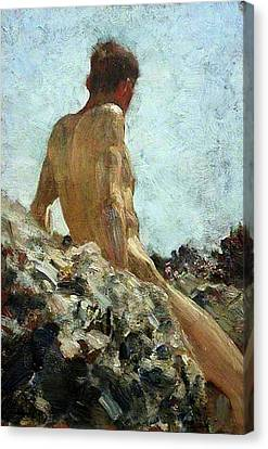 Canvas Print featuring the painting Nude Study by Henry Scott Tuke