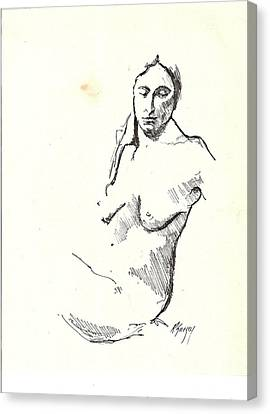 Nude Three Canvas Print by R  Allen Swezey