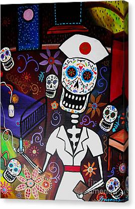 Nurse Dia De Los Muertos  Canvas Print by Pristine Cartera Turkus