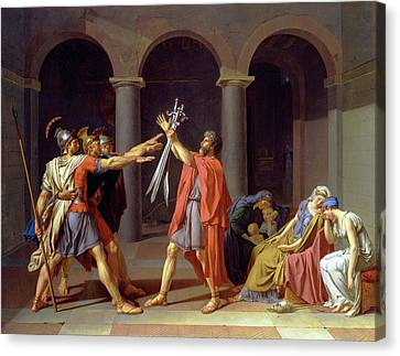 Oath Of The Horatii Canvas Print by Celestial Images