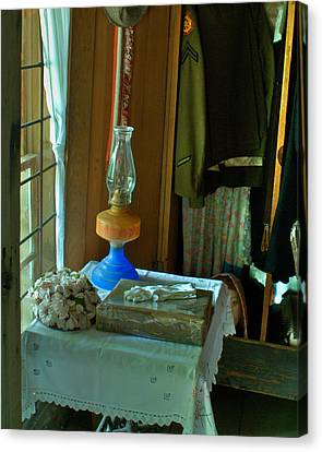 Oil Lamp And Bible Canvas Print by Douglas Barnett