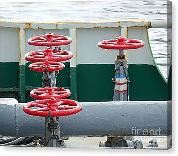 Canvas Print featuring the photograph Oil Pipeline Control Valves by Yali Shi