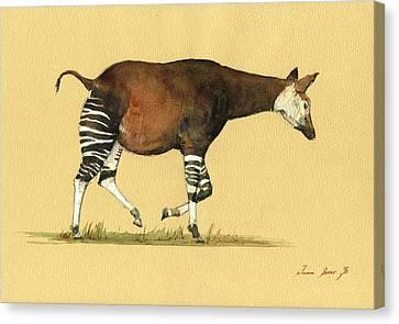 Okapi Art Watercolor Painting Canvas Print