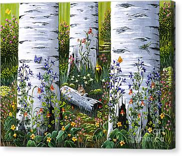 Canvas Print featuring the painting Old Aspen Grove by Jennifer Lake