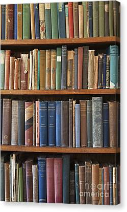Old Books On A Bookshelf Canvas Print by Paul Edmondson