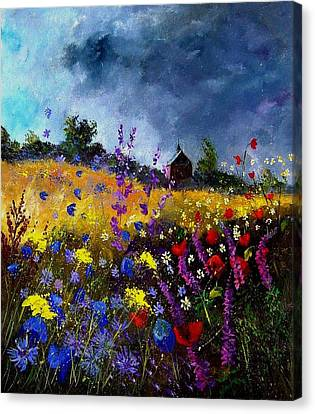 Old Chapel And Flowers Canvas Print by Pol Ledent