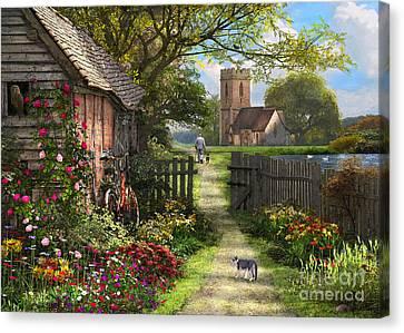 Swans... Canvas Print - Old Church Path by Dominic Davison