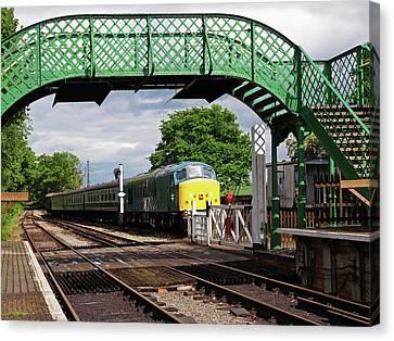 Rail Siding Canvas Print - Old Diesel Train In The Sidings by Gill Billington