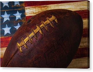 Old Football Close Up Canvas Print by Garry Gay