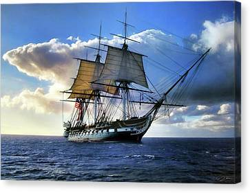 Warships Canvas Print - Old Ironsides by Peter Chilelli