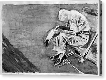 Old Man Reading Canvas Print by Uma Krishnamoorthy