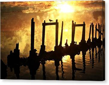 Old Pier At Sunset Canvas Print by Marty Koch
