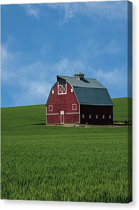 Old Red Barn In The Palouse Canvas Print by James Hammond