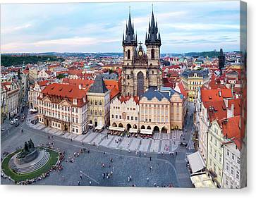 Canvas Print featuring the photograph Old Town Square by Fabrizio Troiani