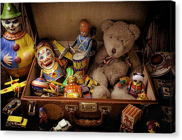 Old Toys In Suitcase Canvas Print by Garry Gay
