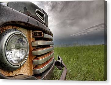 Old Vintage Truck On The Prairie Canvas Print by Mark Duffy