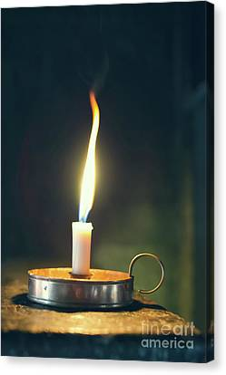 Flickering Light Canvas Print - Old Wax Burning Candle by Amanda Elwell