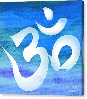 Om Symbol. Blue And White Canvas Print