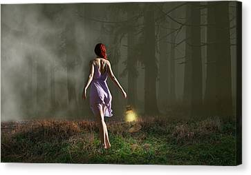 Red Dress Canvas Print - On My Way Home by Marvin Blaine