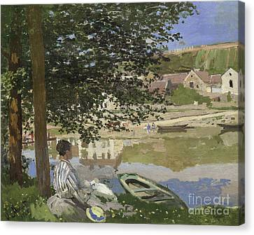 On The Bank Of The Seine, Bennecourt Canvas Print by Claude Monet