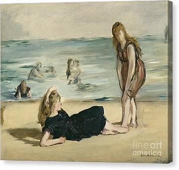 1868 Canvas Print - On The Beach by Edouard Manet