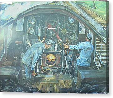 Canvas Print featuring the painting On The Footplate by Mike Jeffries
