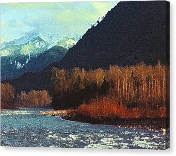 Canvas Print featuring the photograph On The Squamish River 2223 by Lyle Crump