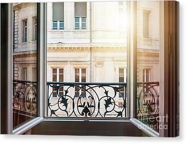 Open Window In Toulouse Canvas Print by Elena Elisseeva