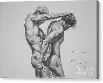 Original Drawing Sketch Charcoal Male Nude Gay Interest Man Art Pencil On Paper -0035 Canvas Print by Hongtao     Huang