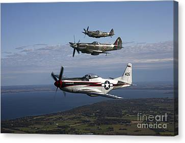 P-51 Cavalier Mustang With Supermarine Canvas Print by Daniel Karlsson
