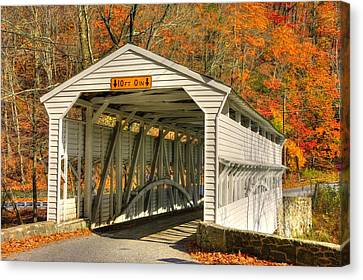 Pa Country Roads - Knox Covered Bridge Over Valley Creek No. 2a - Valley Forge Park Chester County Canvas Print by Michael Mazaika